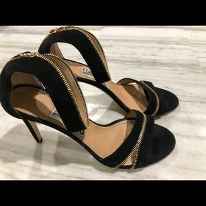 Ferragamo Women's Black Suede Zipper Heels Sandals